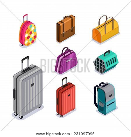 Vector Baggage Isolated 3D Isometric Style Icons. Multicolor Luggage, Suitcase, Bags, Backpack, Carr