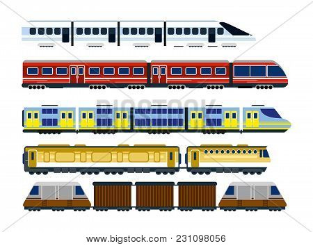 Vector Illustration Of Collection Of Modern Railway Locomotives, Set Of Passengers Wagons And Speed