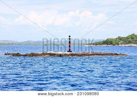 Warning Buoy In Mediterranean Sea In Croatia