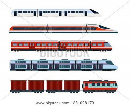 Vector Illustration Set Of Modern Passenger Trains. Subway Transport, High Speed Trains And Undergro