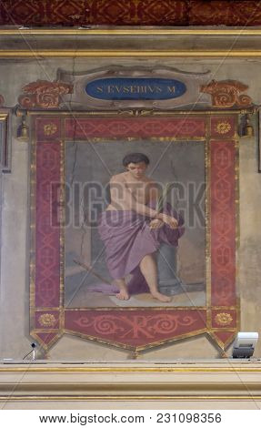 ROME, ITALY - SEPTEMBER 03: Saint Eusebius martyr fresco painting in Church of St Lawrence at Lucina, Rome, Italy on September 03, 2016.