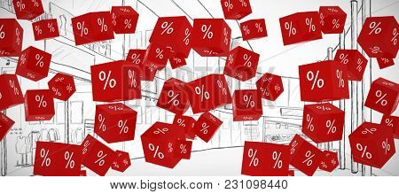 Vector sign of percentage against sketch design of a mall