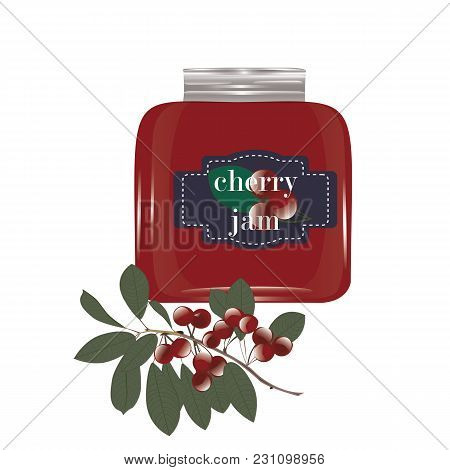 Cherry Jam In A Glass Jar And A Cherry On A Branch With Leaves Isolated On White Background Vector