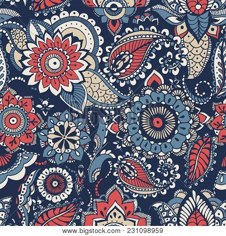 Floral Paisley Seamless Pattern With Colorful Folk Oriental Motifs Or Mehndi Elements On Blue Backgr
