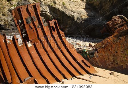 Wrecked Boat Hull Part Looking Like Metal Ribs
