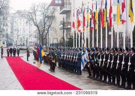 KIEV, UKRAINE - Mar. 14, 2018: Honor guard during the meeting of the President of Ukraine Petro Poroshenko and Austrian President Alexander Van der Bellen. Welcoming ceremony during an official visit