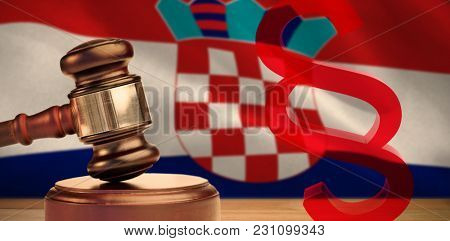 Vector icon of section symbol against digitally generated croatian national flag