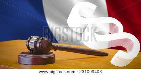 Vector icon of section symbol against digitally generated french national flag