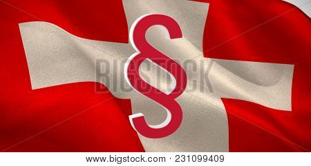 Vector icon of section symbol against digitally generated Swiss national flag