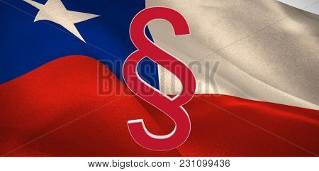 Vector icon of section symbol against digitally generated Chile national flag