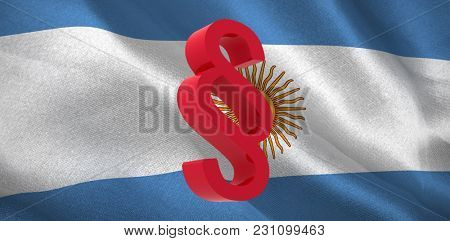 Vector icon of section symbol against digitally generated Argentinian national flag