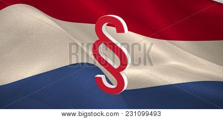 Vector icon of section symbol against digitally generated Dutch national flag