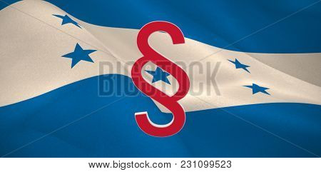 Vector icon of section symbol against digitally generated Honduran national flag