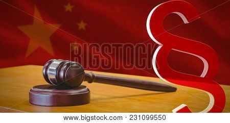 Vector icon of section symbol against close-up of chinese flag