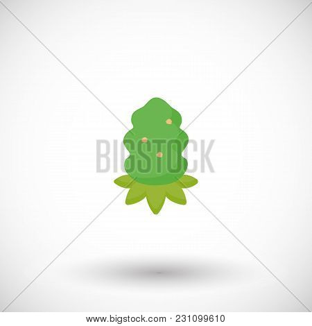 Cannabis Bud Vector Flat Icon, Flat Design Of Medical Cannabis Bud, Hemp, Weed Or Relaxation Object