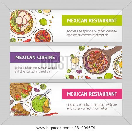 Bundle Of Horizontal Web Banners With National Meals Of Mexican Cuisine And Place For Text On White