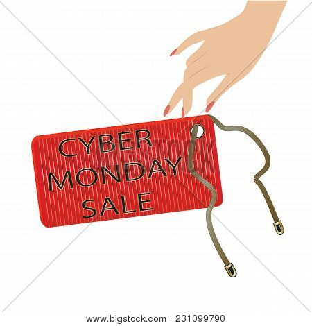 Cyber Monday Sale Icon Label On A Chain Female Hand Isolated White Background Vector