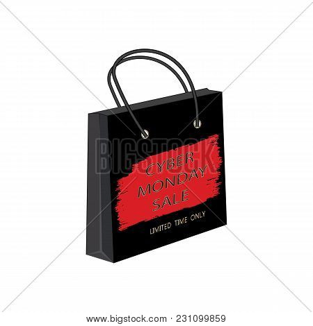 Cyber Monday Sale Paper Bag Watercolor Red Brush Stroke Isolated White Background Vector