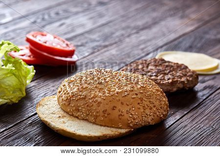 Tasty Hamburger Ingredients Are Laid Out Separately From Above, Beautifully Harmoniously, Close-up,