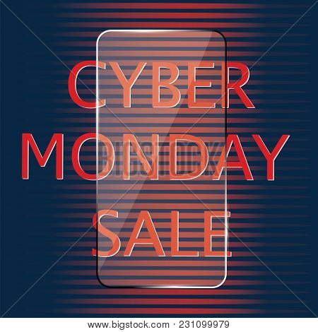 Cyber Monday Sale Glass Icon Isolated On A Dark Background Vector