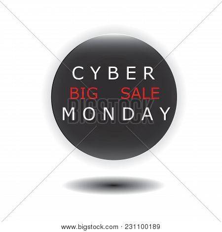 Cyber Monday Sale Icon Round Glass Isolated On White Background Vector