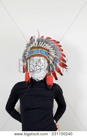 Aluminium Mask And Headdress Indian Native