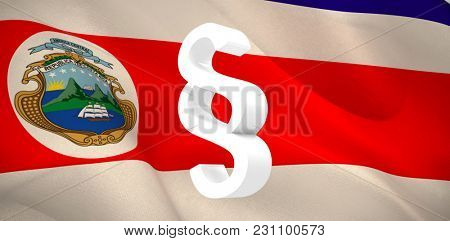 Vector icon of section symbol against costa Rica national flag