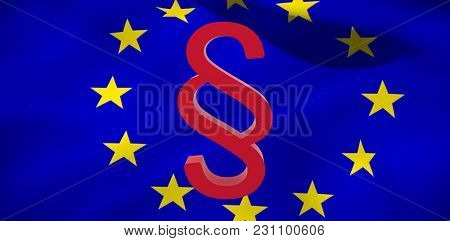 Vector icon of section symbol against European flag