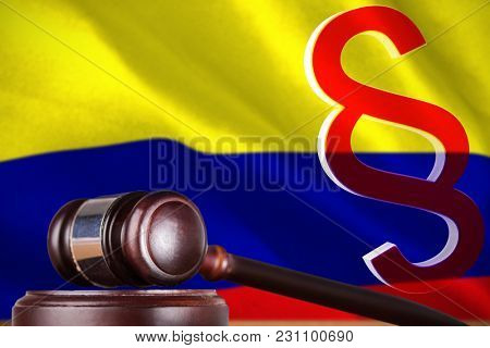 Vector icon of section symbol against digitally generated colombia national flag