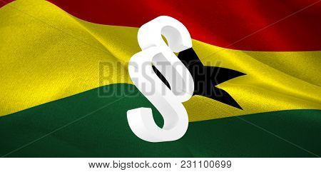 Vector icon of section symbol against digitally generated Ghana national flag