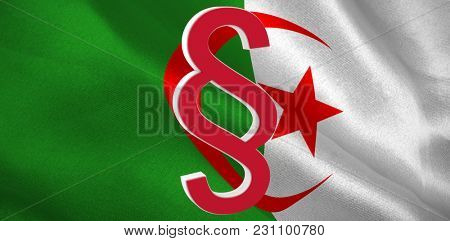 Vector icon of section symbol against digitally generated algerian national flag