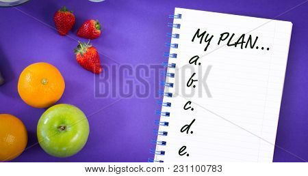 List of plan from a to e against overhead ciew of various fruits
