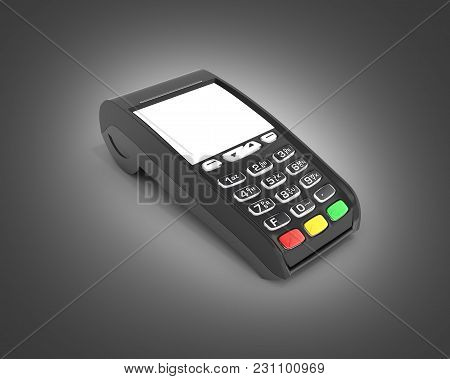 Card Payment Terminal Pos Terminal With Empty Screen Isolated On Black Background 3d Render