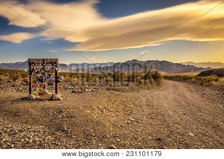Famous Teakettle Junction On The Way To Racetrack Playa In Death Valley National Park, California