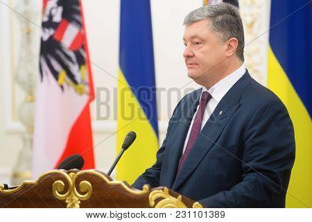 Kiev, Ukraine - Oct. 14, 2018: President Of Ukraine Petro Poroshenko During The Meeting With Austria