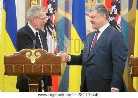 Kiev, Ukraine - Oct. 14, 2018: President Of Ukraine Petro Poroshenko And Austrian President Alexande