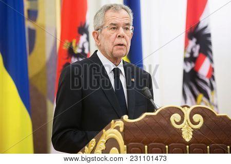 Kiev, Ukraine - Oct. 14, 2018: Austrian President Alexander Van Der Bellen And President Of Ukraine