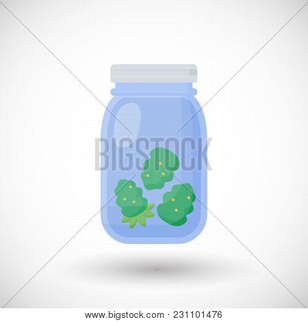Dried Marijuana,cannabis Buds In Glass Jar Vector Flat Icon, Flat Design Of Medical Marijuana Dispen