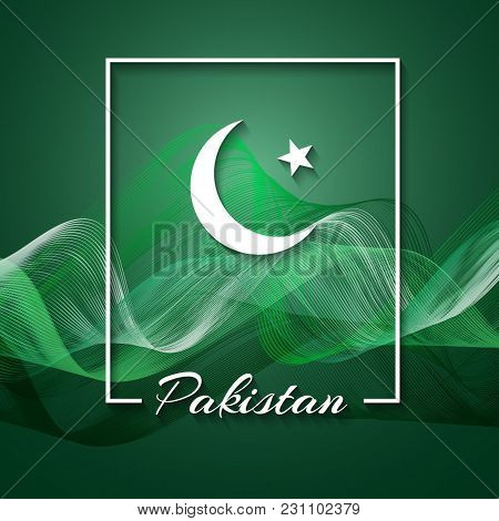 Inscription Pakistan Crescent And Star In A Frame On A Background Of The National Flag Of Pakistan A