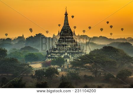 Scenic Sunrise With Many Hot Air Balloons Above Bagan In Myanmar. Bagan Is An Ancient City With Thou