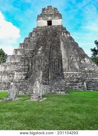 Mayan Temples Of Gran Plaza Or Plaza Mayor At Tikal National Park Guatemala