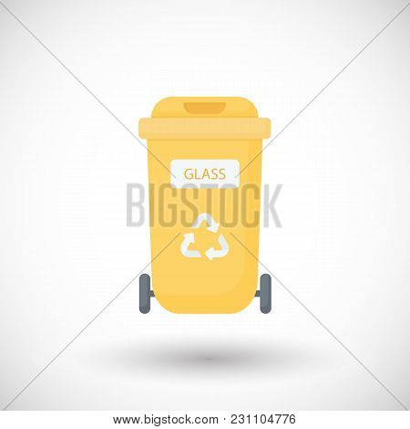 Container For Glass Waste Flat Vector Icon, Flat Design Of Yellow Sorting Waste Bin With Round Shado