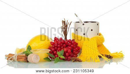 Berries Of Viburnum, Lemon, Honey And Spices For Hot Tea, Thermometer In Cup With Scarf, Isolated On