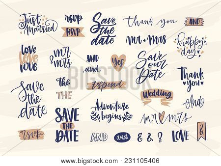 Collection Of Elegant Wedding Lettering Or Inscriptions Handwritten With Calligraphic Font. Set Of P