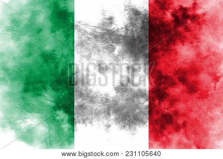 Old Italy Grunge Background Flag