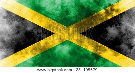 Old Jamaica Grunge Background Flag