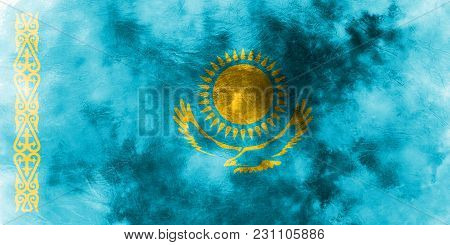 Old Kazakhstan Grunge Background Flag