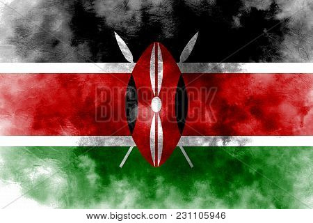 Old Kenya Grunge Background Flag