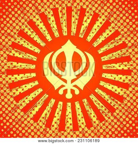 Celebration Holiday Baisakhi. New Year Of The Sikhs. Khanda Sikh Symbol. In The Style Of Pop Art. On