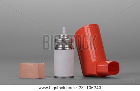 Small Pocket Inhaler And Bottle With Dispenser On Gray Background
